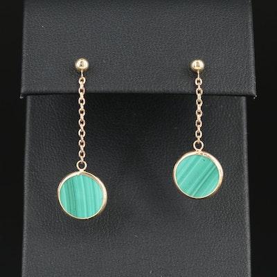 14K Gold Malachite Dangle Earrings