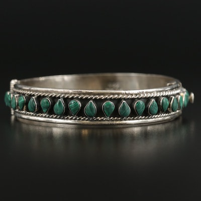 Taxco Sterling Silver Malachite Hinged Bangle Bracelet