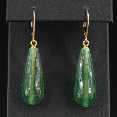 14K Yellow Gold Green Quartz Dangle Earrings