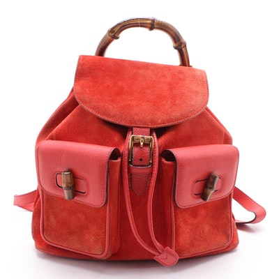 Gucci Bamboo Red Suede and Leather Backpack