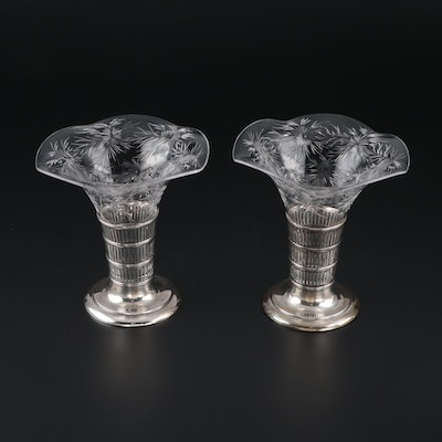 Watson Cut Glass Vases with Sterling Silver Stands, Early/Mid 20th Century