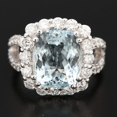 14K Gold 5.80 CT Aquamarine and 1.51 CTW Diamond Ring