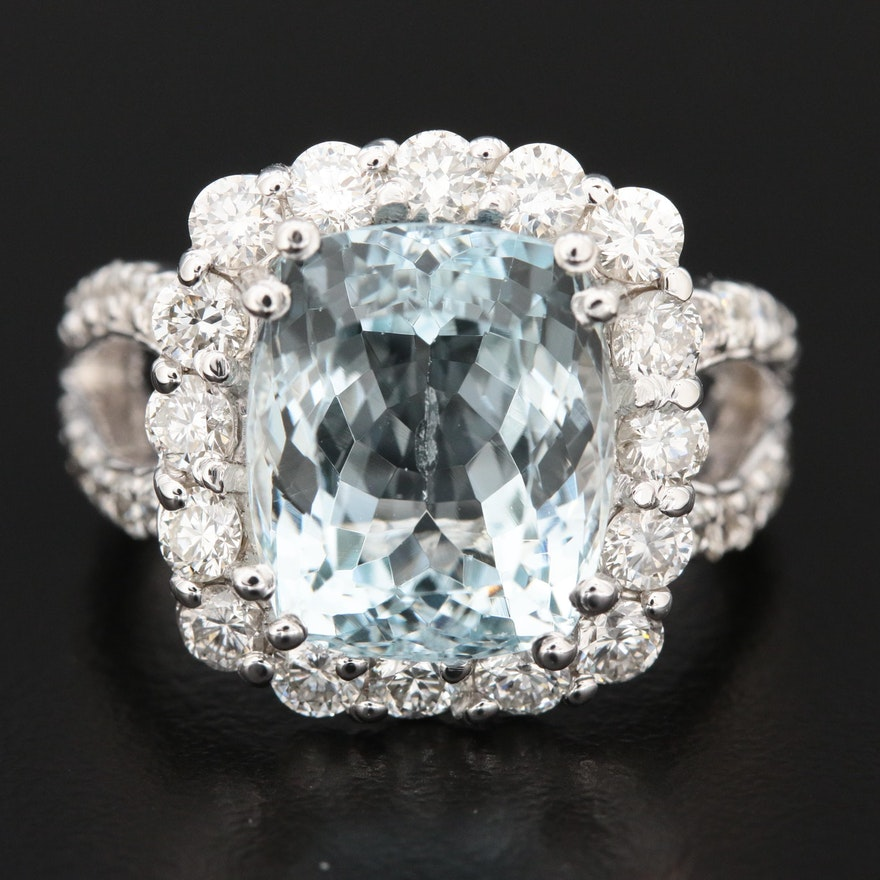 14K Gold 5.80 CT Aquamarine and 1.51 CTW Diamond Ring