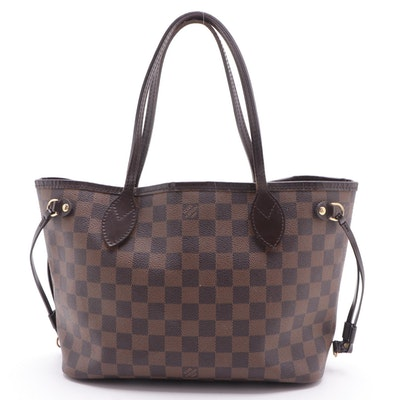 Louis Vuitton Neverfull PM Tote in Damier Ebene Canvas and Leather
