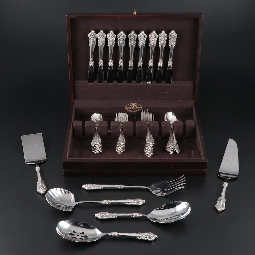 "Wallace ""Grande Baroque"" Sterling Silver Flatware for Nine, Mid/Late 20th C."