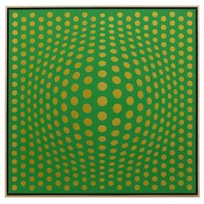 "deSanto Op Art Acrylic Painting ""Perfect Illusion VII"""