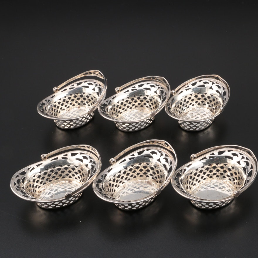 Webster Pierced Sterling Silver Individual Nut Bowls with Handles, Mid-Century