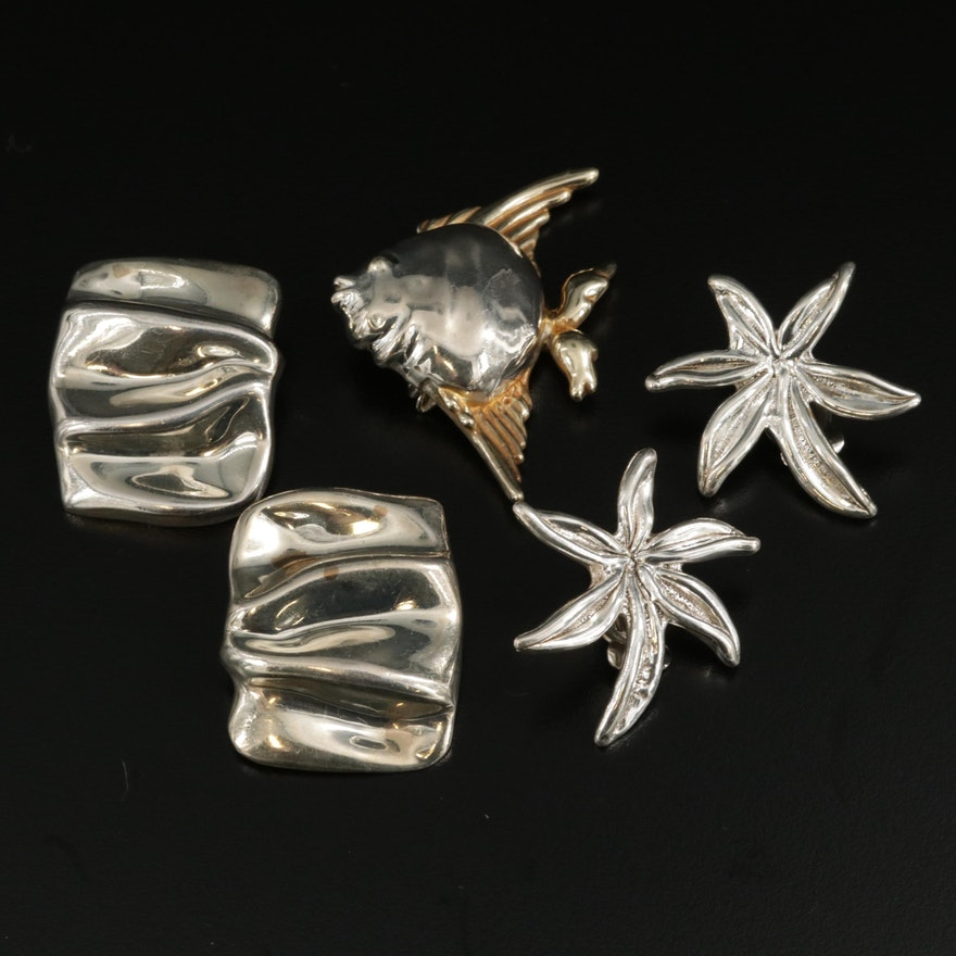 Sterling Earrings and Pendant Including Floral and Fish Themes