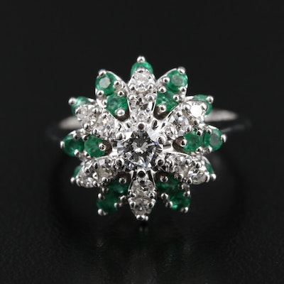 14K Gold Diamond and Emerald Ring