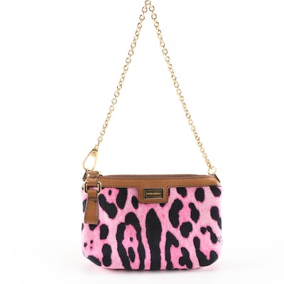 Dolce & Gabbana Pink Leopard Print Canvas and Leather Baguette with Chain Strap