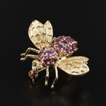 14K Gold Sapphire Insect Brooch