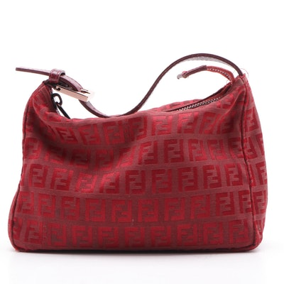 Fendi Mini Pochette Bag in Red Zucca Canvas and Leather