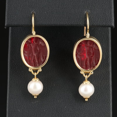 Tagliamonte 18K Gold Glass and Pearl Earrings