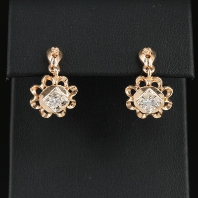Antique Style 14K and 10K Gold Diamond Dangle Earrings