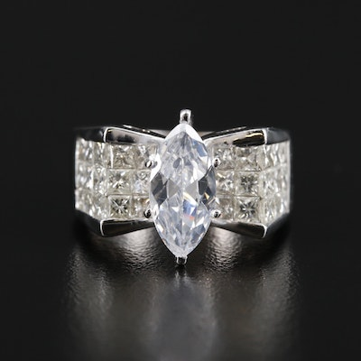 14K Gold 2.90 CTW Diamond Semi Mount Ring with Cubic Zirconia Center