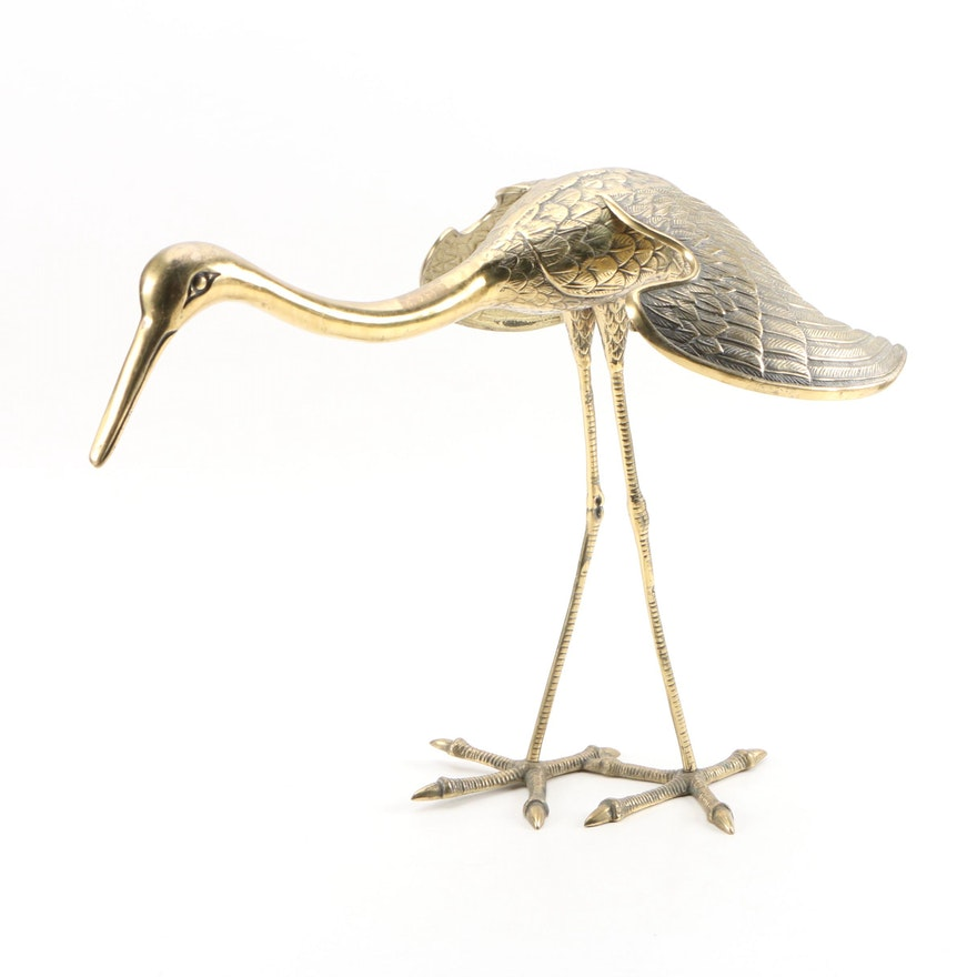 East Asian Brass Crane Statuette, Mid to Late 20th Century