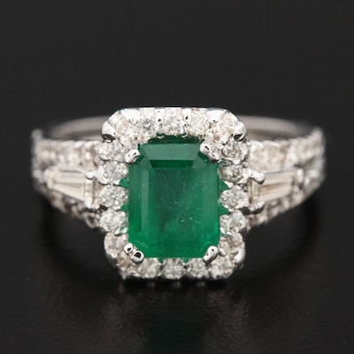 18K White Gold 1.40 CT Emerald and 1.16 CTW Diamond Euro Shank Ring