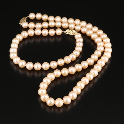 14K Gold Pearl Necklace and Bracelet