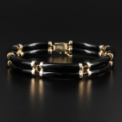 14K Gold Black Onyx Bracelet