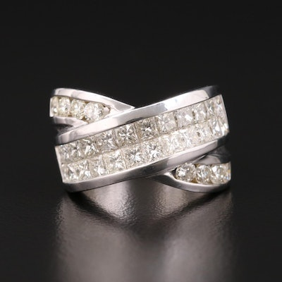 18K Gold 4.07 CTW Diamond Crossover Ring