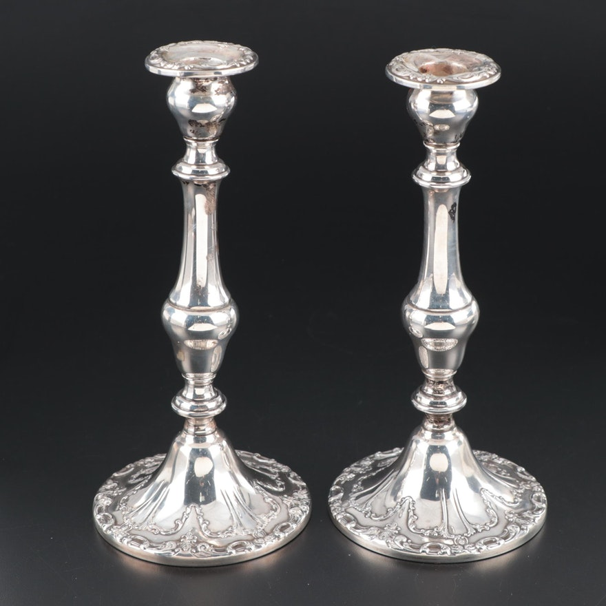 """Gorham """"Chantilly"""" Weighted Sterling Silver Convertible Candlesticks"""