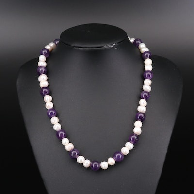 Amethyst and Cultured Pearl Necklace with Sterling Silver Clasp