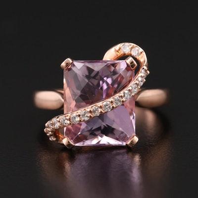 Effy 14K Amethyst and Diamond Crossover Ring