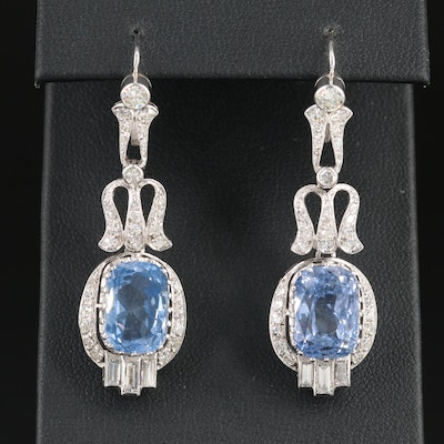 14K Gold 14.71 CTW Sapphire and 2.17 CTW Diamond Earrings