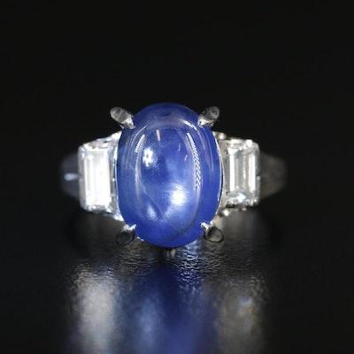 Platinum 5.84 CT Star Sapphire and Diamond Ring