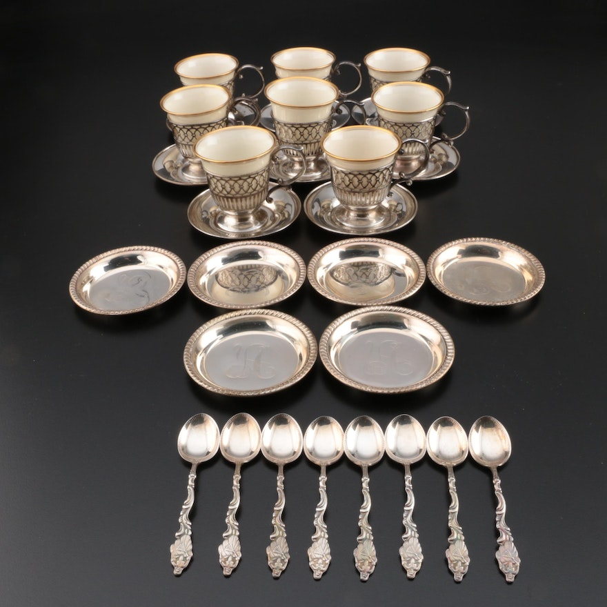 Watson Sterling Silver Demitasse Set with Lenox Inserts and More