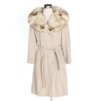 Double-Breasted Wool Coat with Tie Sash and Fox Fur Shawl Collar, Vintage