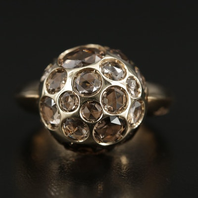 Pomellato 18K Yellow Gold Smoky Quartz Orb Ring