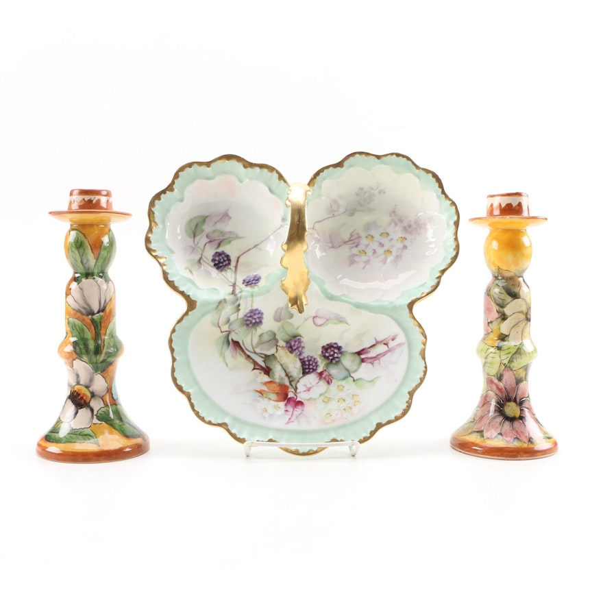 Mexican Hand-Painted Majolica Candlesticks with Limoges Porcelain Tidbit Tray