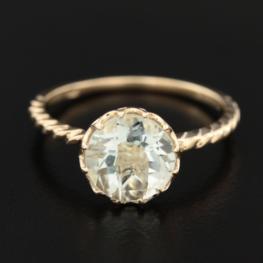 14K Yellow Gold Prasiolite Ring