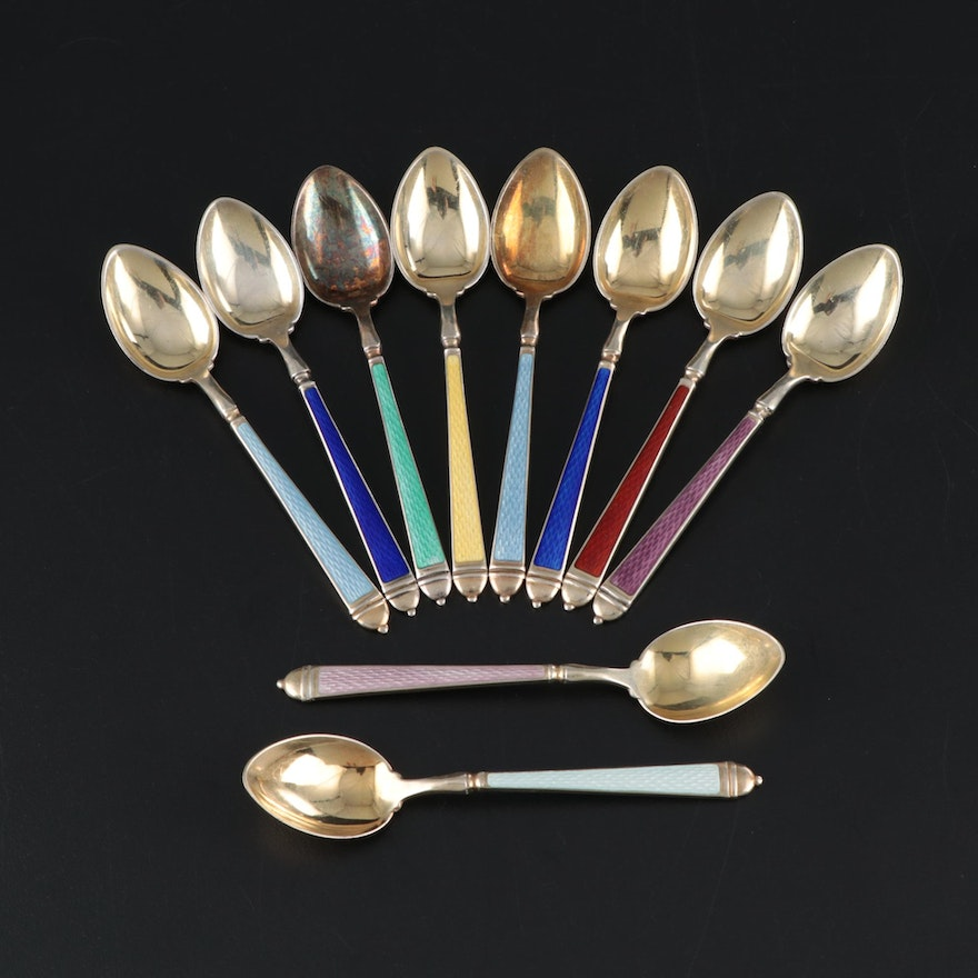 Watson Enameled Gold Wash Sterling Demitasse Spoons