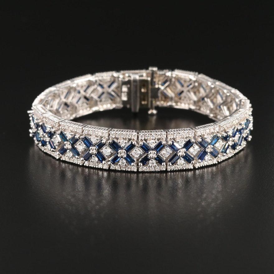 14K Gold Sapphire and 5.00 CTW Diamond Bracelet