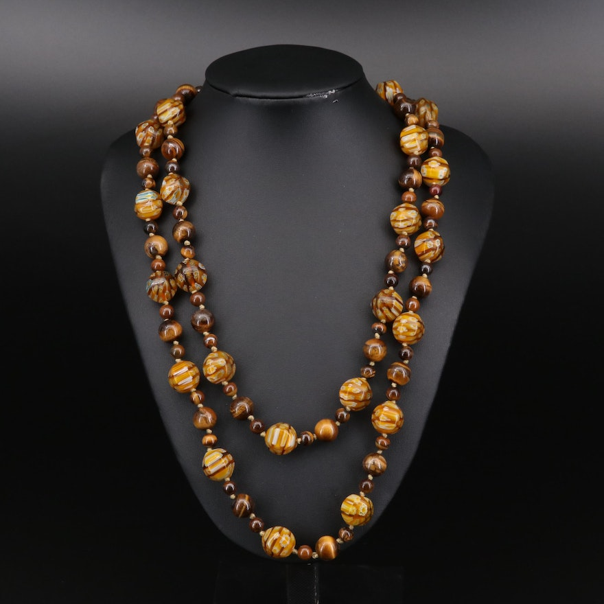Tiger's Eye and Millefiore Glass Bead Endless Necklace