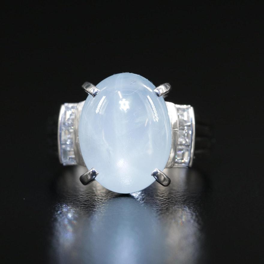 Platinum 11.49 CT Star Sapphire and Diamond Ring