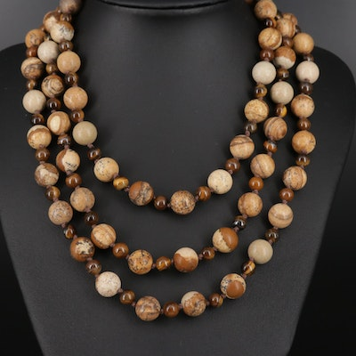 Jasper and Tiger's Eye Knotted Endless Necklace