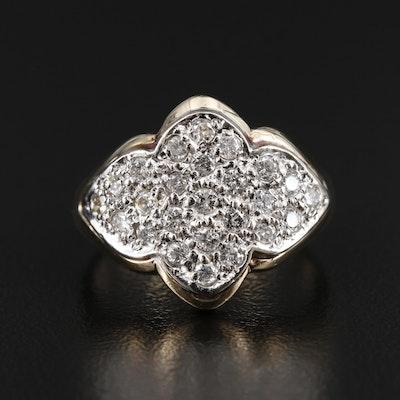 14K Gold Diamond Quatrefoil Ring