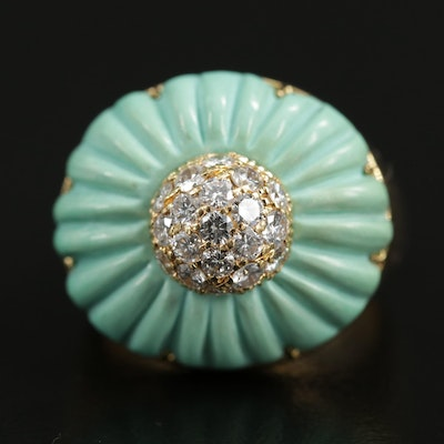 Vintage 18K Yellow Gold Carved Turquoise and Diamond Ring