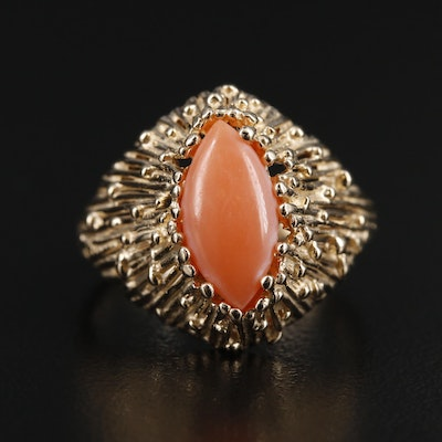 14K Gold Coral Cabochon Ring