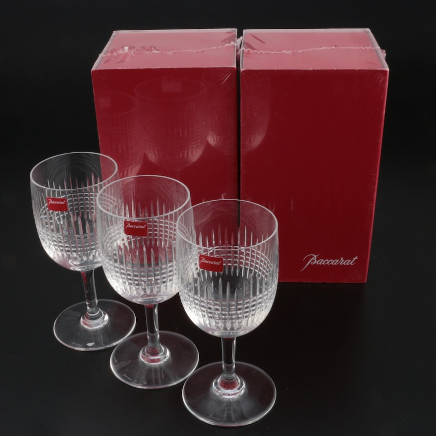 "Baccarat ""Nancy"" Cut Crystal Water Goblets, Late 20th Century"
