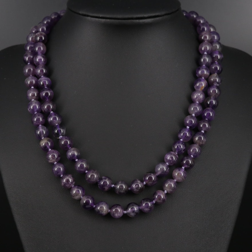 Endless Beaded Amethyst Necklace