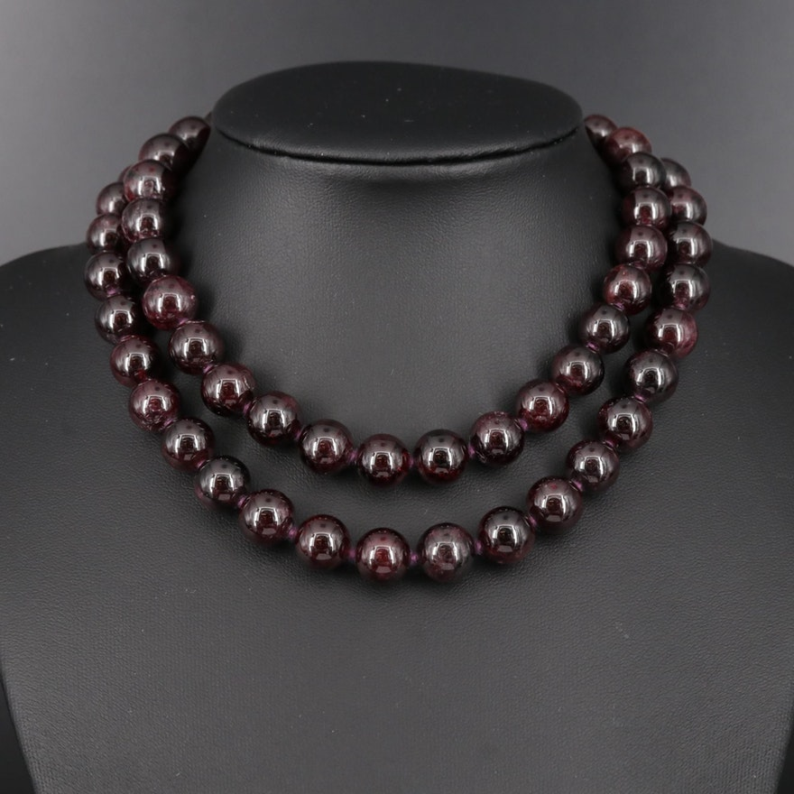 Beaded Garnet Necklace with Sterling Silver Clasp
