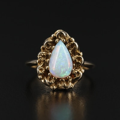 14K Gold Opal Cabochon Ring