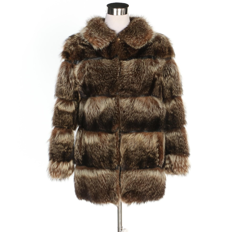 Mr. Fred Design for Fur & Sport Raccoon Fur and Leather Coat