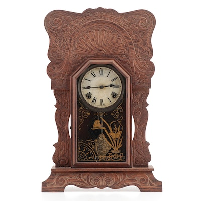 Sessions Late Victorian Pressed Oak and Gilt-Stenciled Shelf Clock, circa 1900