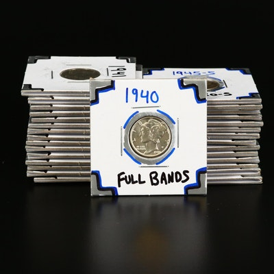Thirty Mercury Silver Dimes, 1918 to 1945, Generally High Grade