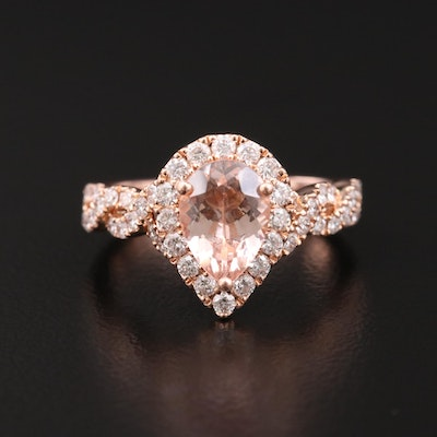 Neil Lane 14K Morganite and Diamond Ring with Twisted Shoulders